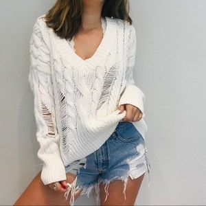 Express Sweaters - Express cable knit distressed sweater